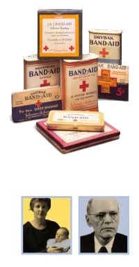 Historical Boxes of Band-Aid Bandage Products with Photos of Inventors