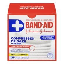 Compresses de gaze moyennes BAND-AID®, stériles