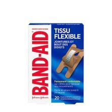 paquet de pansements band-aid en tissu flexible pour jointures et bout des doigts