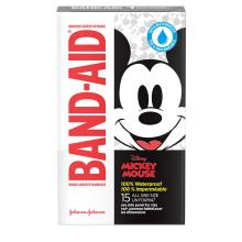 Pansement adhésifs imperméables de marque BAND-AID® à motifs de Mickey Mouse pour les coupures et égratignures, 15 u.