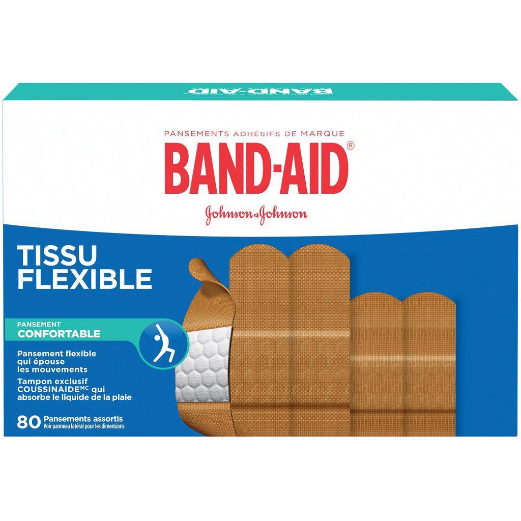 Boîte de 80 pansements adhésifs BAND-AID® en tissu flexible