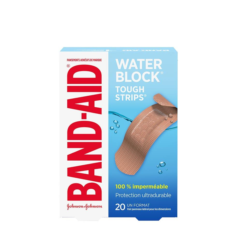 paquet de 20 pansements band-aid water block tough strips