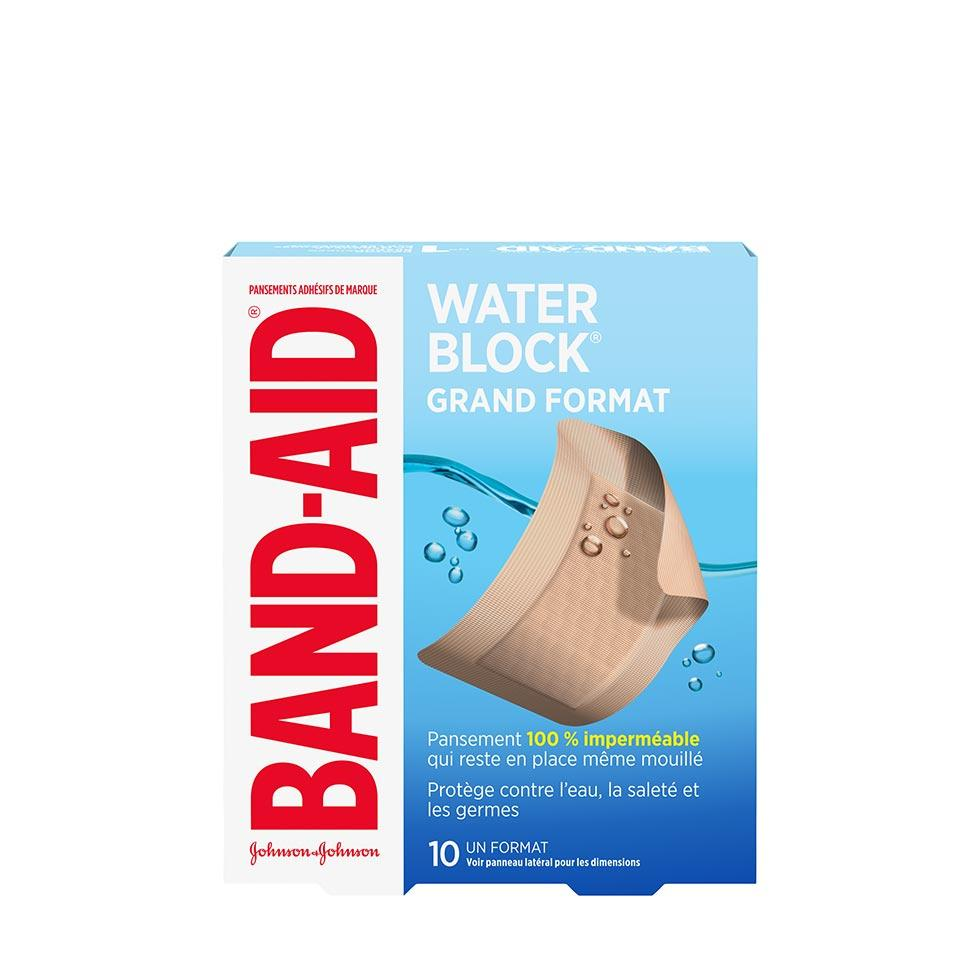 paquet de pansements band-aid water block de grand format