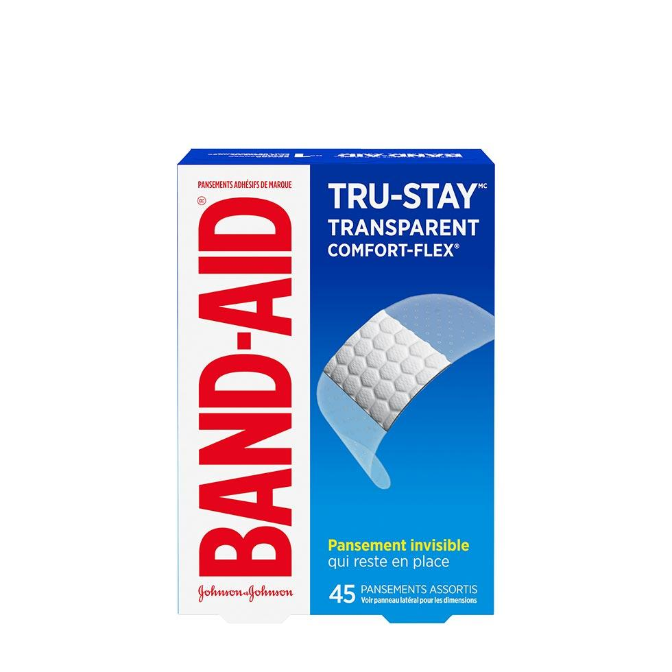 boîte de 45 pansements transparents band-aid tru-stay, assortis