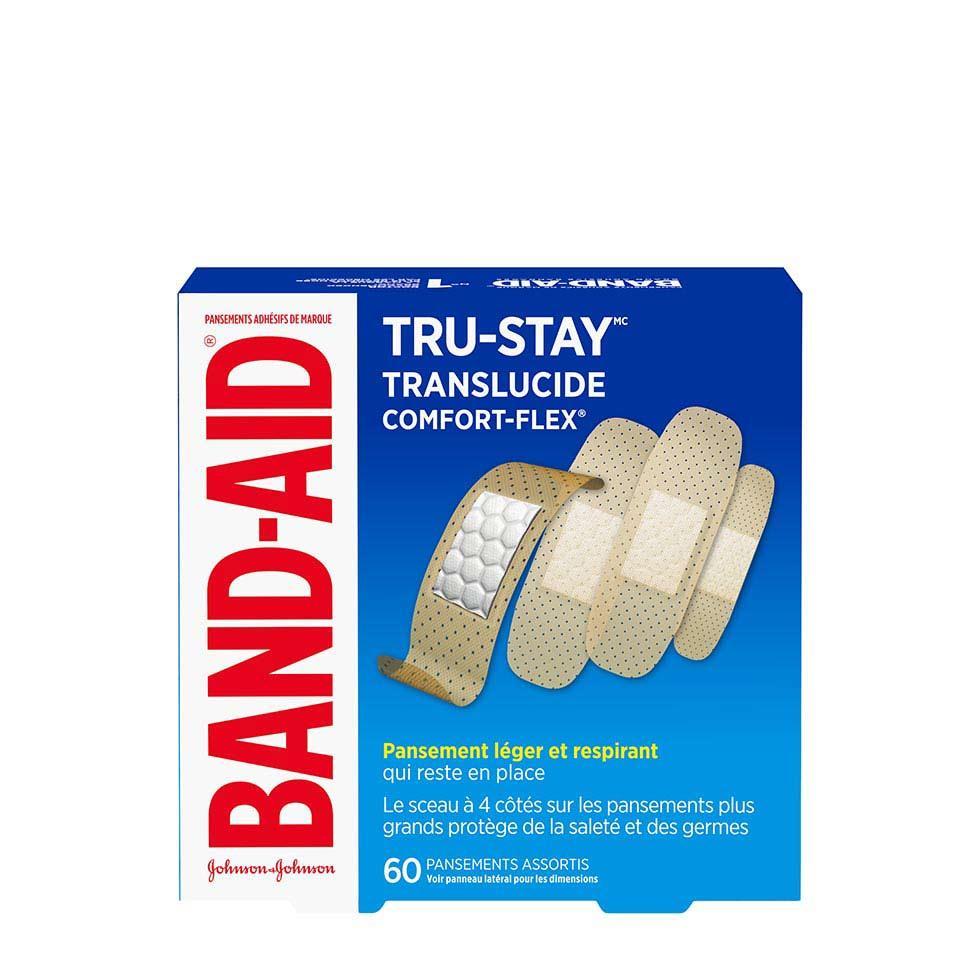 paquet de pansements translucides band-aid tru-stay
