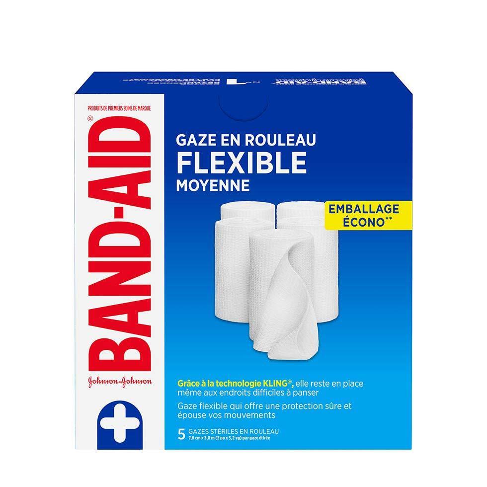 paquet de 5 rouleaux de gaze flexible moyenne band-aid