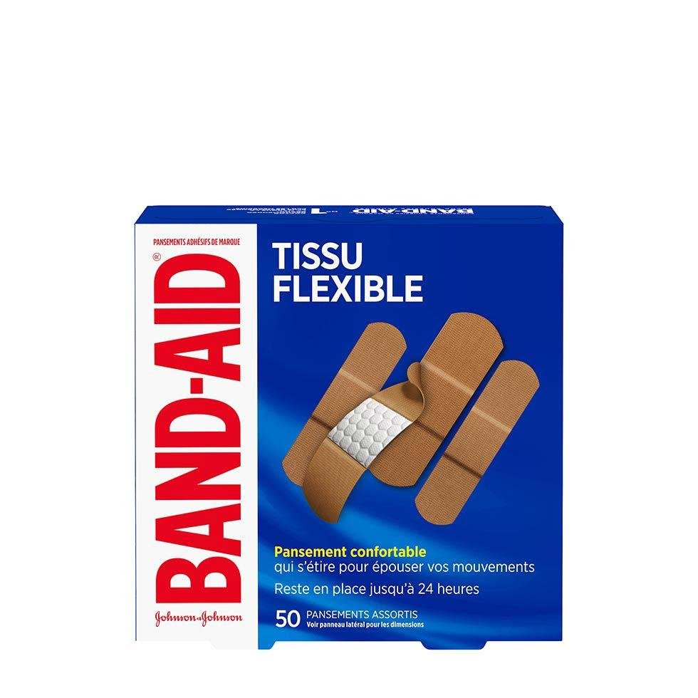 paquet de 50 pansements band-aid en tissu flexible, assortis