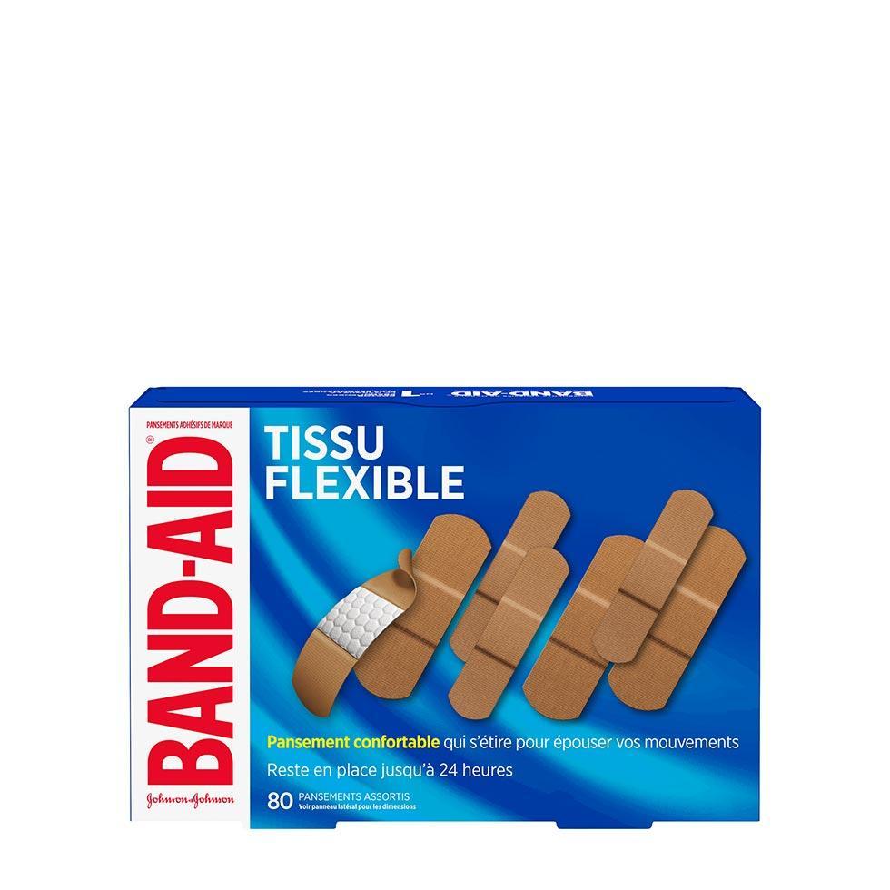 boîte de 80 pansements band-aid en tissu flexible, assortis