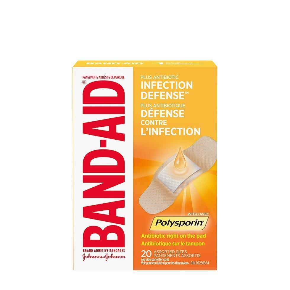 paquet de 20 pansements band-aid avec polysporin