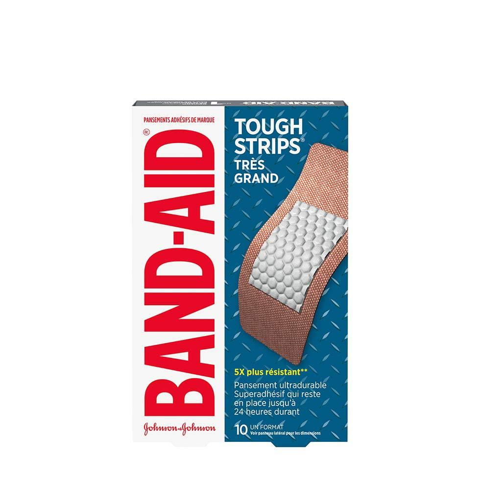 paquet de 10 très grands pansements band-aid tough strips