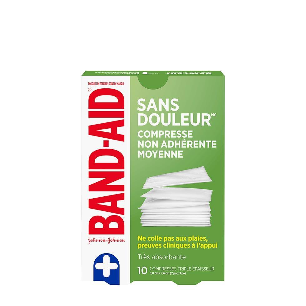 paquet de 10 compresses non adhérentes moyennes band-aid