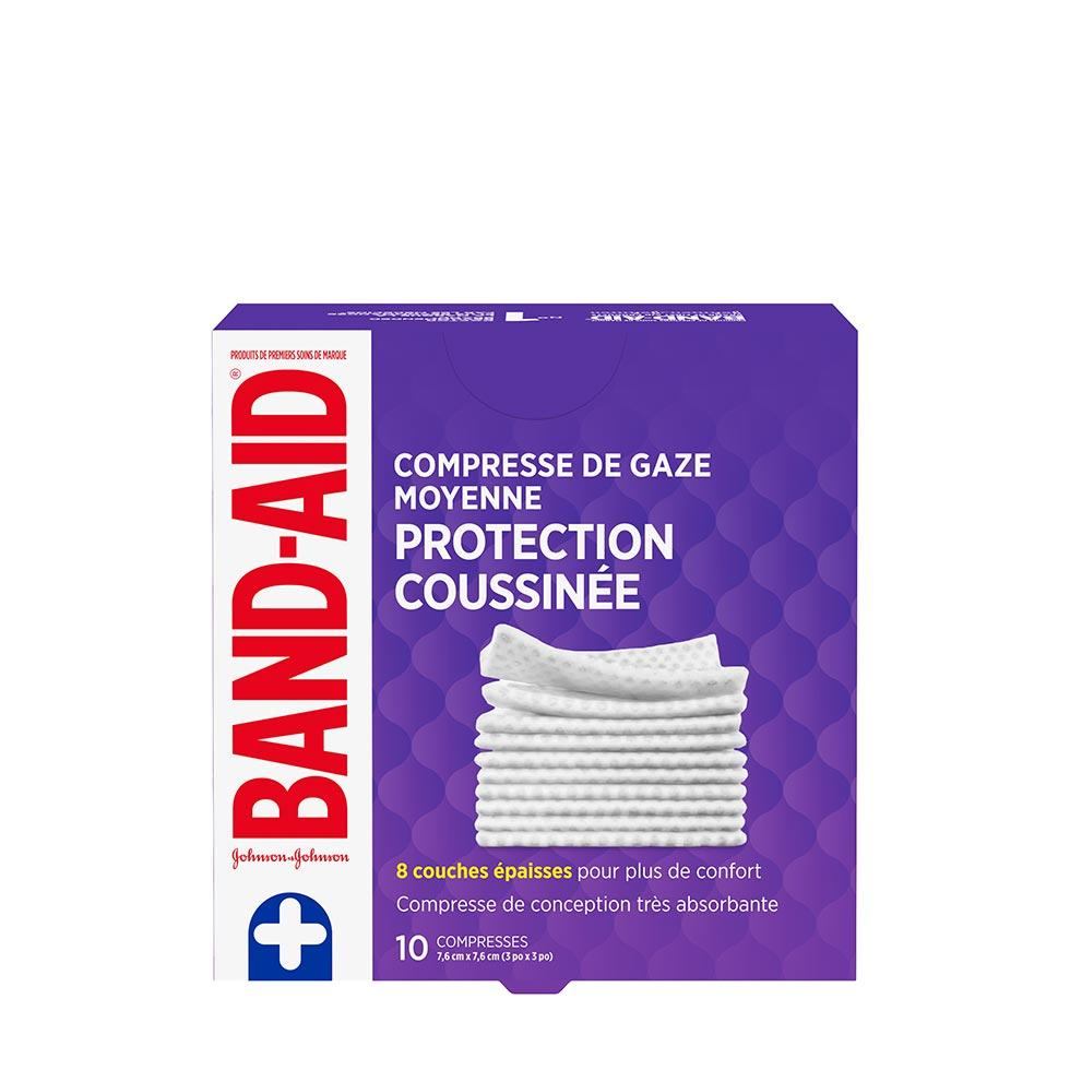 paquet de 10 compresses de gaze moyennes band-aid