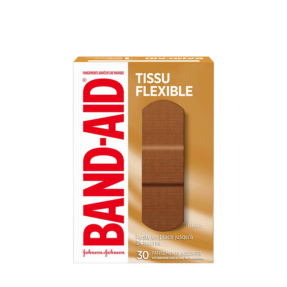 Boîte de pansements BAND-AID® Tissu flexible, BR45, 30 pansements assortis