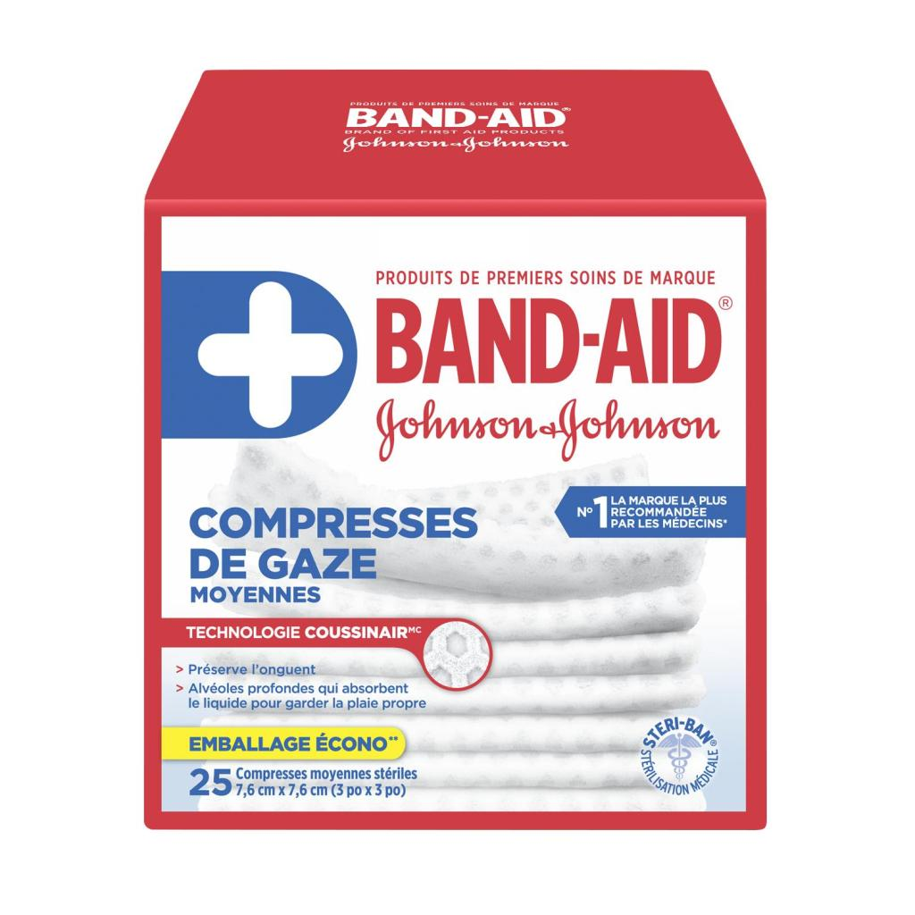 Compresses de gaze, 7,6 cm par 7,6 cm, 25 compresses