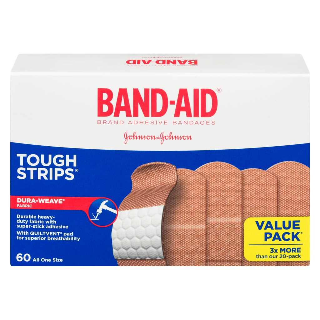 Band-Aid Tough Strips Sixty All One Size Bandages Box